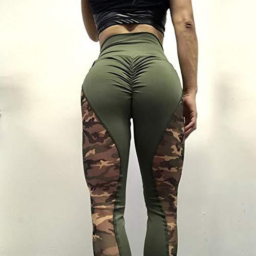 CKUZI 3D-Druck Yoga-HosenLeggings mit hoher Taille Frauen-Tarnungs-Trainings-Gamaschen-weibliche Patchwork-Falten-Sportleggins