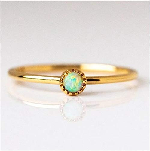 XINGPENGME Dainty Feuer-Opal-Ringe for Frauen Gold-Cz Verlobungsringe In Copper Versprechen Ringe for Paare a30 (Main Stone Color : 3, Ringgrootte : 6)