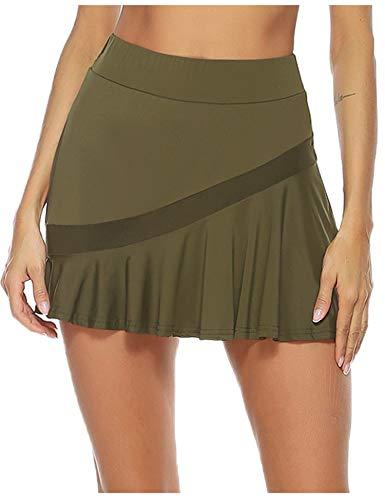 Damen Tennis Skorts Athletic Sportskort Rock mit Taschen und Innenhose für Laufen Tennis Golf Yoga Armeegrün M