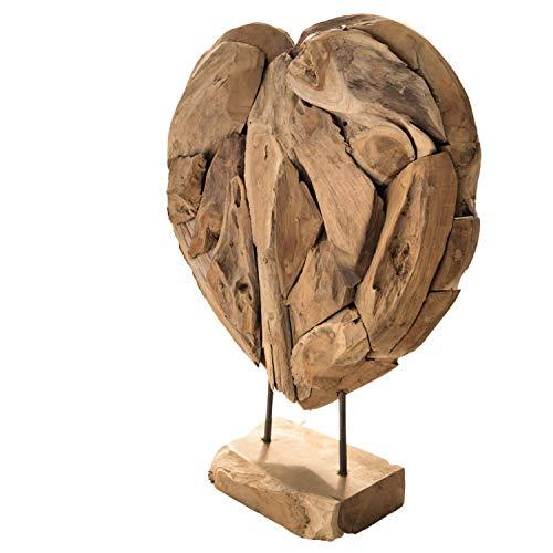 Herz, Standherz, Deko, Massivholz, Unikat in Teak Holz, naturfarben, ca. 30cm x 25cm, Hingucker, Metallfüße auf Holzsockel, Solide Handarbeit