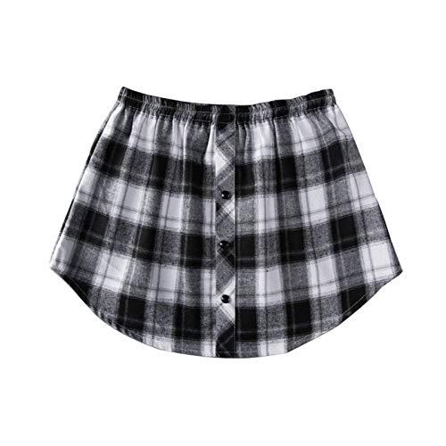 FENGCHUANG Street All-Match dobladillo falso, parte inferior inferior de la parte superior, extensor de camisa, falda a cuadros con fondo elástico