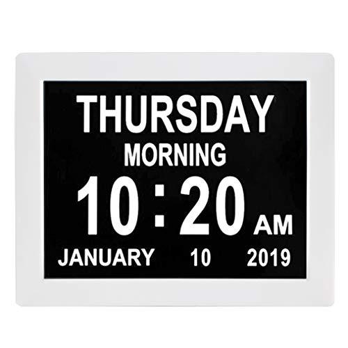 TMC Demenz-Uhr, digitaler Kalender, 8 Alarmoptionen, extra groß, nicht abgekürzt, Tag und Monat für Sehbehinderte, ältere Menschen, Gedächtnisverlust