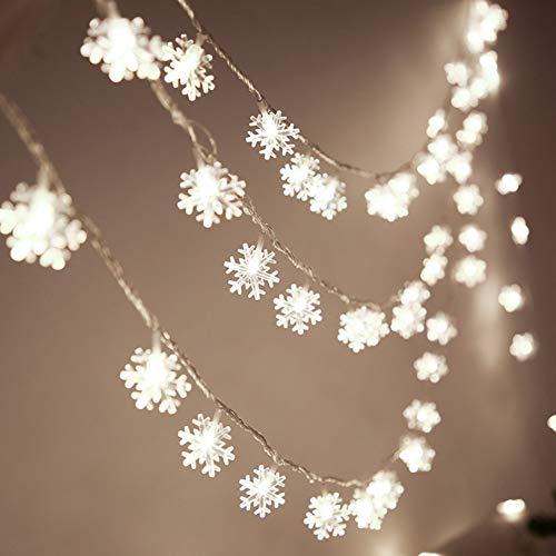 URMAGIC 20FT Snowflake String Lights,40 LEDs Christmas Lights,Battery Powered Waterproof Fairy Lights,Warm White Twinkle Lighting,Window Curtain Light,Wedding Decorative Fairy Light