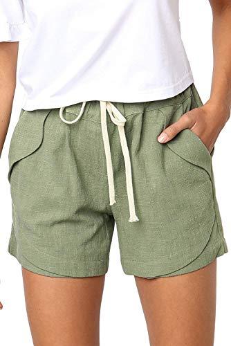 GOLDPKF Beach Shorts 5 Inseam Womens Denim Shorts Casual Womens Clothes Cute Teen Tops for Girls Drawstring Pants high Waisted Shorts Green Medium