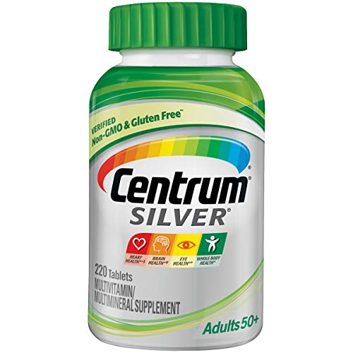Centrum Silver Adult 220 Count (Pack of 1) Multivitamin / Multimineral Supplement Tablet, Vitamin D3, Age 50+