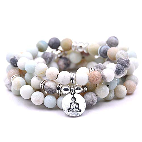 Natural 108 Mala Beads Bracelet Necklace Meditation Jewelry with Yoga Charm (Amazonite)