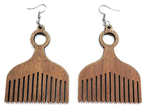 African Nubian Afrocentric Afro Pick Comb Style Women Hair Wood Natural Colorful Drop Dangle Earrings (Brown)