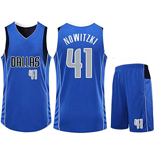 QAZWSX Dallas Mavericks #41 Basketball Uniform Dirk Nowitzki Sommer Sporttrikot Erwachsene und Kinder Basketballuniformen Basketballtrikot Oberteil (inkl.Shorts) Gr. 3XS, blau