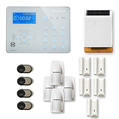Alarme Maison sans Fil Ice-B 4 à 5 pièces Mouvement + Intrusion + sirène extérieure Solaire - Compatible Box Internet et GSM