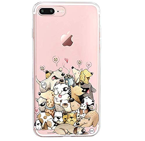 Compatible with iPhone 8 Plus Case/iPhone 7 Plus Case Clear Slim Silicone Cover Soft TPU Bumper Phone case for 8 Plus (Dog 2, iPhone 8 Plus)