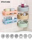 HOME CUBE ABS Plastic Multipurpose Kitchen Bathroom Wall Holder Storage Rack Corner Shelf (25 x 11 x 7 cm, Random Colour) -Combo of 5 Pieces