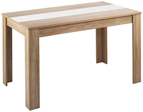 HOMEXPERTS Esstisch NICO / Küchentisch 140 cm / Esszimmertisch / Tisch in Sonoma Holz Eichen-Optik hell-braun / Wendeplatte in der Mitte wahlweise Schwarz oder Weiß / 140 x 80 x 75 cm (L x B x H)