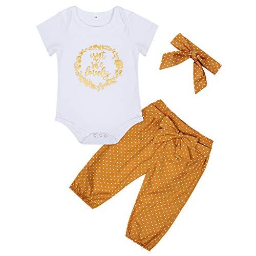 Edjude Bebé Niñas Conjuntos de Ropa Pantalones Cortos para Recién Nacidos Conjuntos Mameluco del Cuerpo Diadema Floral 3 Piezas