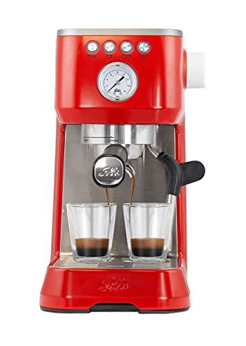 Solis Barista Perfetta Plus 1170 Kaffeevollautomat - halbautomatischer Kaffeebereiter mit Heißwasser- und Dampffunktion - 15 bar - 1,7 l Wassertank - Rot