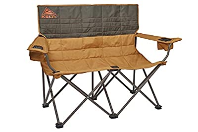 Kelty Loveseat Camping Chair, Canyon Brown/Belluga – Folding Double Camp Chair for Festivals, Camping and Beach Days - Updated 2019 Model