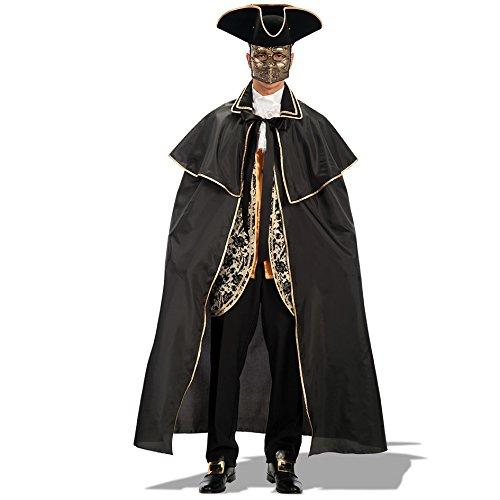 Carnival Toys - Capa veneciana de tafetn, 140 cm, color negro (29013)
