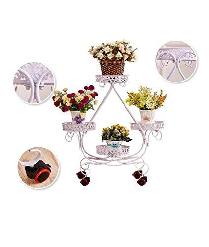 Continental Fer à crémaillère pot de fleurs multi-couche en bois de poulie mobile coulissant salon sol balcon voyantes ( Couleur : Blanc )