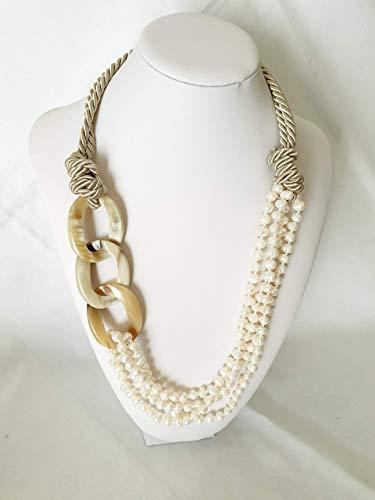 Collana seta, corno, perle di fiume