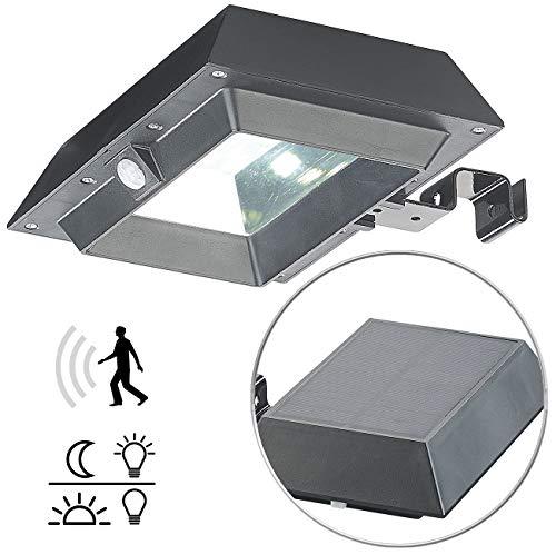 Lunartec Dachrinnenleuchte: 2in1-Solar-LED-Dachrinnen- & Wandleuchte, PIR-Sensor, 300 lm, schwarz (LED Außenbeleuchtung)