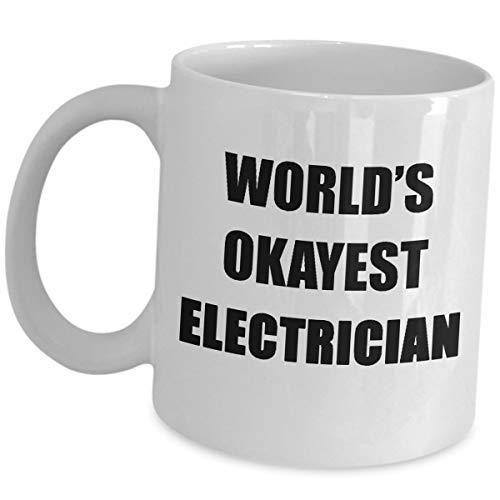 Taza de café para electricista Worlds Okayest – divertidos regalos como se...