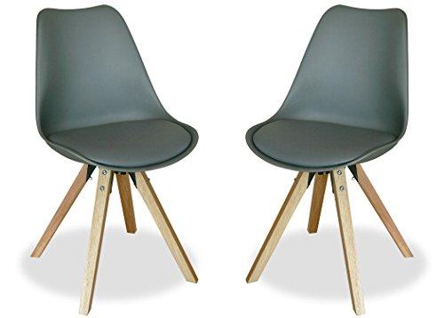 KMH®, 2er Set Designstuhl/Esszimmerstuhl Angie (grau) Beine Eiche massiv (#800059)