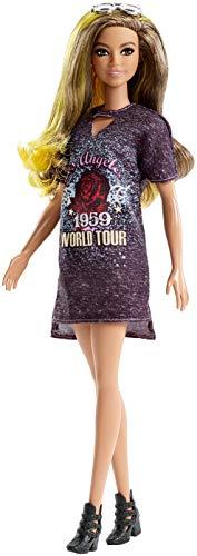 Mattel Barbie - Fashionistas Puppe, mit gelben Strähnchen und Printkleid