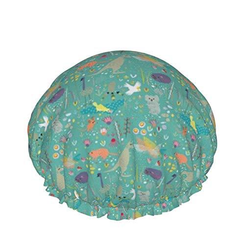 Gorras de ducha impermeables reutilizables para baño y ducha, protección para el cabello, gorro de ducha Eva reutilizable (género neutro australiano animales est)