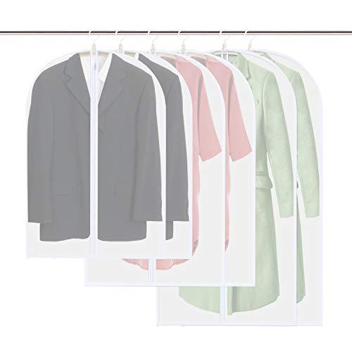 Vicloon Copriabiti Antipolvere,6 Pezzi Abbigliamento Copre per Abiti, Copriabiti Antipolvere Trasparenti Lavabile e Riutilizzabile con Cerniera per Camicia Costumi Cappotti