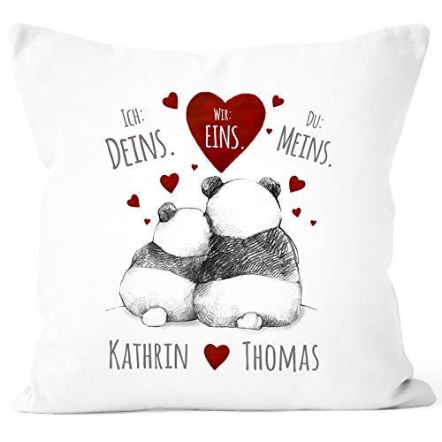 SpecialMe® Kissen-Bezug Ich Deins, Du Meins, Wir Eins. Panda-Bär anpassbar mit Namen personalisierte Liebesgeschenke weiß Unisize