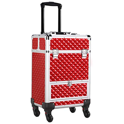 Yaheetech Red Rolling Makeup Trolley Lockable Cosmetic Organiser Aluminum Makeup Case with Wheels and a Large Drawer