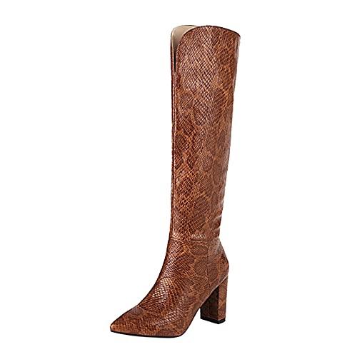 CuteFlats Elegantes botas altas hasta la rodilla para mujer., marrón oscuro, 38 EU
