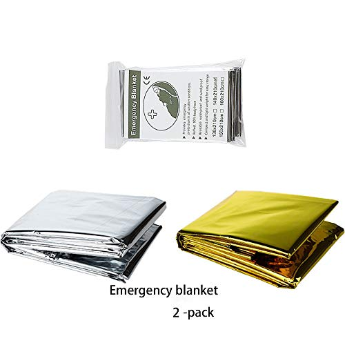 Emergency Blanket (2-Pack) Solar Blankets Large Foil Thermal Blanket Survival Maximum Protection Rescue Best Suited Your Earthquake Survival Kit Outdoor Camping Hiking First Aid 55.11x82.68 inch
