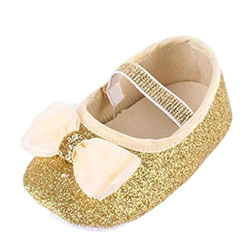 Kobay Kleinkind Schuhe Baby Mädchen Blume Schuhe Sneaker Anti-Slip Hand Soft Kleinkind Schuhe + 1st Hairband (11/0-6Monat, Gold)