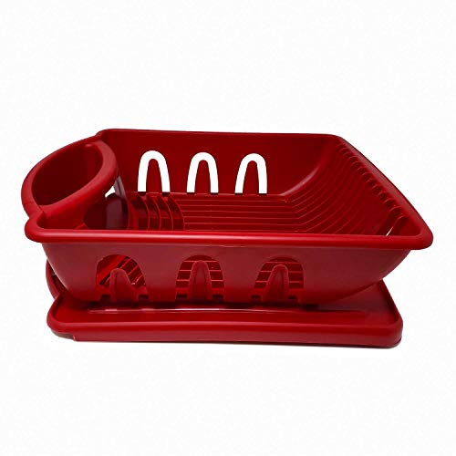 Heavy Duty Sturdy Hard Plastic Sink Set With Dish Rack With Drainer & Drainboard,Easy to Clean With Snap Lock Tab Cup Holders for Home Kitchen Sink Organizers-S,M,L-Made in USA(Red Medium Dish Rack)