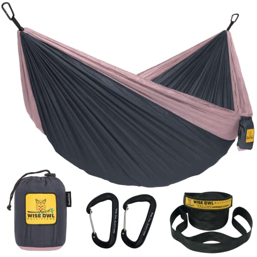 Wise Owl Outfitters Hammock for Camping Single & Double Hammocks Gear for The Outdoors Backpacking Survival or Travel - Portable Lightweight Parachute Nylon DO Charcoal Rose
