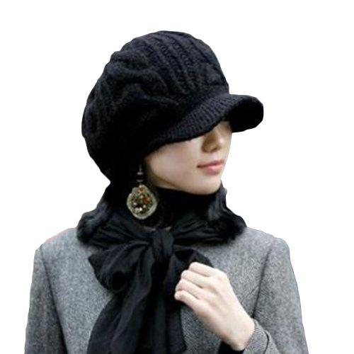 LOCOMO Men Women Boy Girl Slouchy Cabled Pattern Knit Beanie Crochet Rib Hat Brim Newsboy Cap Warm Black FAF026.