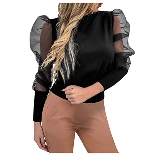 POPLY Damen 2020 Frühlings Mode Frauen Oansatz Laterne Hülse Perspektive Dot Mesh Hülse Beiläufige Lose Tops