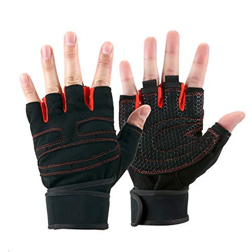 Quesuc Training Gloves Guantes de fitness con reposamuñecas y protección para la palma Guantes de levantamiento de pesas para Crossfit, Guantes deportivos para mujeres y hombres pour Red Red