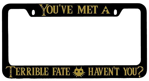 License Plate Frames, You've Met A Terrible Fate Haven't You Black METAL License Plate Frame LoZ Applicable to Standard car Unisex Car Licenses Plate Covers Holders Frames for Plates 15x30cm