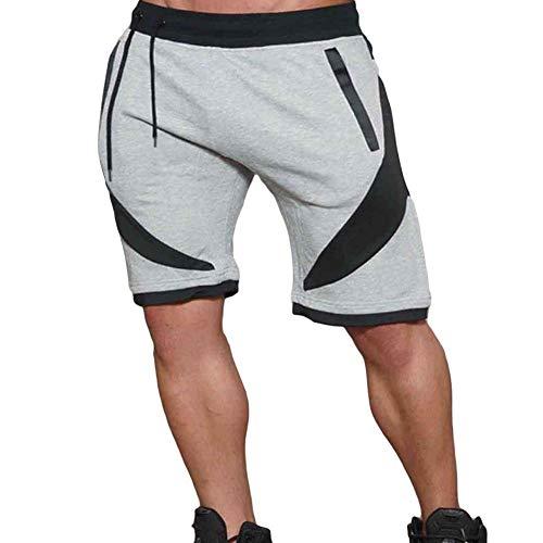Auppy Mannen Shorts Mannelijke Sweatpants Fitness Joggers Korte Sportscholen met Rits Zakken