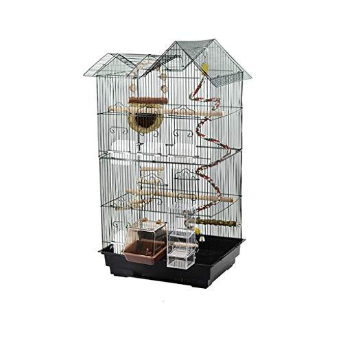 Waterdicht huisdierbed metaal vogelkooi papegaai vogelkooi kweek vogelkooi groot model vierkant zwart met vogelnest schommel feeder huisdieraccessoires