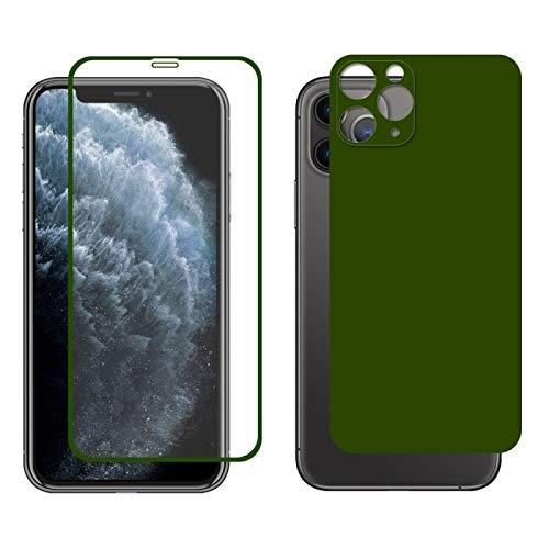 Dmtrab para Para iPhone 11 Pro Hat-Prince Glue Full 0.26mm 9h 2.5d Frontal Tempered Vidrio Cobertura Completa película y película Negra con la función Protector de Lentes de cámara (Color : Green)