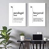 Póster de definición de asistente legal en blanco y negro, lienzo minimalista, impresiones de pintura, oficina de abogados, arte de pared, decoración, regalos para abogados, 50x70cmx2 sin marco