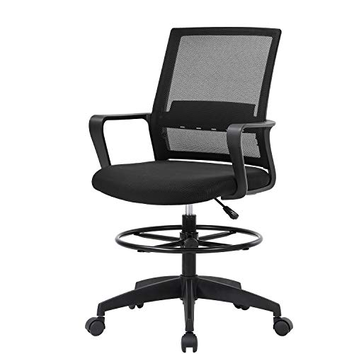 OffiClever Drafting Chair Ergonomic Computer Support Adjustable Height Mesh High Back with Wheel Executive for Women Men, Black