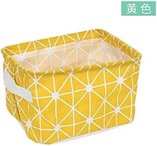 N / A Boîte de Rangement en Treillis Style Japonais Coton et Lin Panier de Rangement Bureau Simple Panier boîte en Tissu 2...