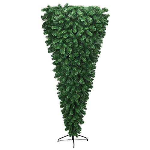 Goplus 7FT Upside Down Tree, Artificial Christmas Tree with Metal Stand, 1000 Branch Tips, Green Inverted PVC Tree for Indoor Outdoor Holiday Decoration