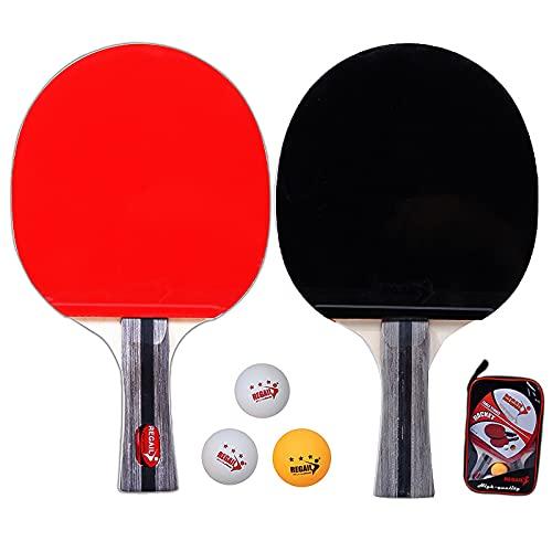 Jabroyee Juego de raquetas de ping pong de mesa, de álamo, con pelota y bolsa de almacenamiento, esponja de espuma, para hombre y mujer, adecuado para deportes de interior y exterior