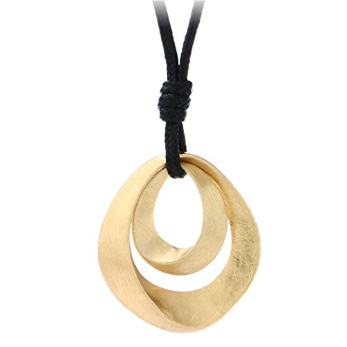 Gold and Silver Plated Handmade Drawing Brushed Double Hollow Oval Pendant Necklace