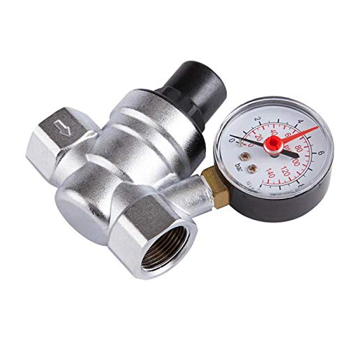 HGFHGD 1/2 Zoll Wasserdruckregler mit Manometerdruck-Halteventil Leitungswasserdruckreduzierventil DN15