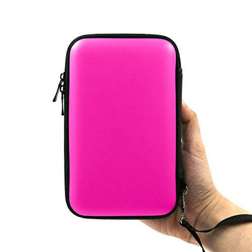 ADVcer 3DS Case, EVA Waterproof Hard Shield Protective Carrying Case with Detachable Hand Wrist Strap Compatible with Nintendo New 3DS XL, New 3DS, 3DS, 3DS XL LL, DSi, Dsi XL, DS, DS Lite (Fuchsia)